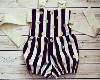 Retro Romper- Bubble Romper- Sun suit - Baby Romper - Girl Romper -Rayna's Romper - Black Stripe Romper