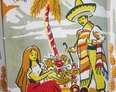 Mid Century Mexican Cactus Kitchen Tea Towel Unused