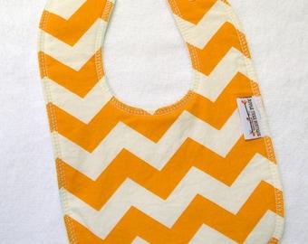 Mustard Chevron Drooler Bib - Snap - Non wicking fleece back - Middle layer Organic cotton
