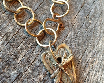 Bronze Dragonfly Heart Necklace