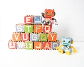 Large Toy Blocks, 17 Wood Alphabet Building Blocks, Hi-Lo Safety Blocks