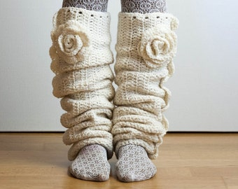 Flowered crochet Leg Warmers from the Olivia Grace Nolan Collection