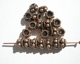 Antiqued Copper Bali style  Beads - 7x4mm - 20
