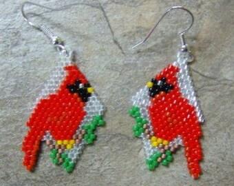 Cardinal Dangle Earrings Hand Made Seed Beaded