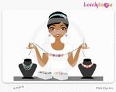Jewelry woman clip art, jewellery artist digital PNG clipart (Amara 566)