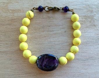 C105 LSU Gold and Purple Bracelet