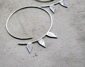 Sterling Silver Hoop Earrings - Solar Rays, Petals Hoops, Blackened Silver - statement, geometric, made in Italy