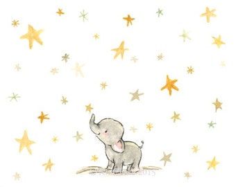 Nursery Art -- Wishing Elephant -- Art Print
