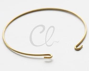 6 Pieces of Raw Brass Cuff Bracelets - Bangle 65x1.4mm (1813C-U-253)