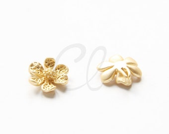 2pcs Premium Matte Gold Plated Brass Base Charms - Flower 13.4x12.3mm (1078C-S-353)