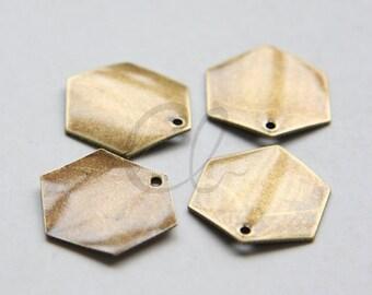 4pcs Antique Brass Plated Brass Base Charm - Honeycomb Hexagon 17mm (1697C-L-30)