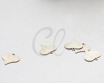 10pcs Antique Brass Plated Brass Base Heart Charm - 14.5x15mm (2025C-C-459)