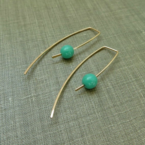 14K Yellow Gold Filled Dangle Hook Earrings - Turquoise Glass Beads - Modern Minimal Simple Beaded Wire Jewelry