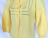 Vintage 1950s Yellow Taffeta blouse with open stitch work 50s womens shirt Mid Century Womens Top