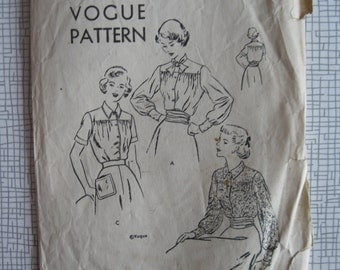 "Late 1940s / Early 1950s Blouse - 34"" Bust - Vogue 6625 - Vintage Sewing Pattern"