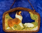 Custom Sculpture Rough Collie and Lamb wall hanging By Laura Weis