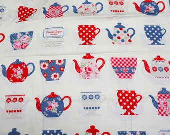 Tea cup  Japanese Fabric Half Meter  100  cm by 106 cm or 39 by 42 inches  (hako15A)