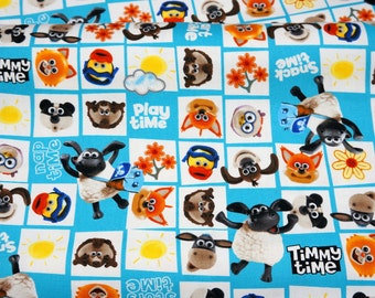 Licensed fabric Timmy Time fabric half meter 50 cm by 106 cm or 19.6 by 42 inches A9 ©Aardman