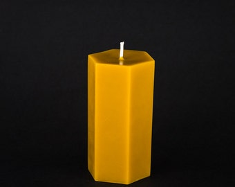 Pure Beeswax Pillar Candle - Hexagon Pillar - 3 in. x 6.5 in. tall