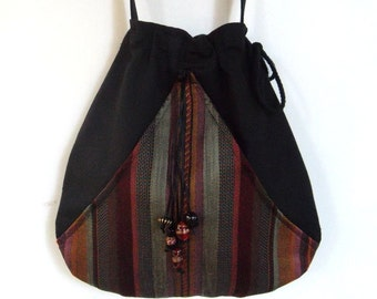 Boho Stripe Bag Black Pocket Boho Bag  Drawstring Bag   Bohemian Bag  Crossbody Purse