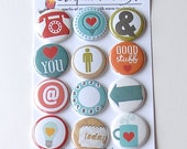 DAILY GRIND Flair Buttons or Badges - Set of 12 flat back flair