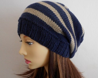 KNITTING PATTERN/CAMPUS Girls Striped Slouchy Hat /Girls Slouch Beanie/Womans Slouch Toque Pattern/Aran Wortsed Stocking St/Knit Round Easy