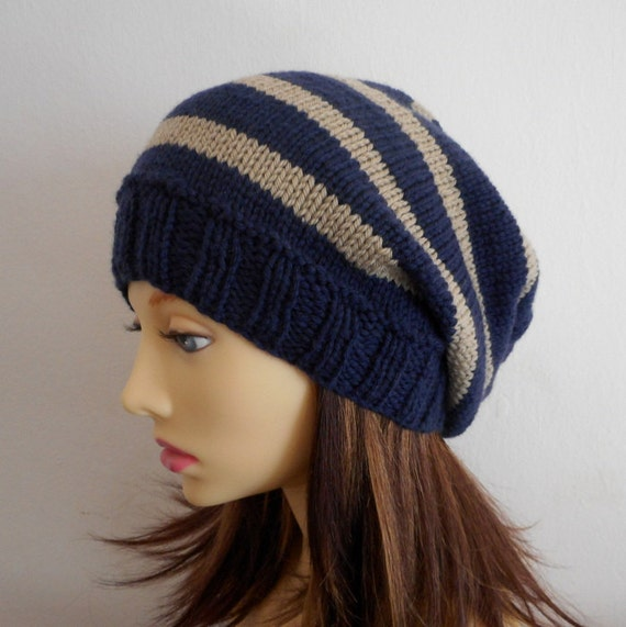 Knitting Pattern Wooly Hat : KNITTING PATTERN /CAMPUS/ Teenagers Striped Slouchy Hat