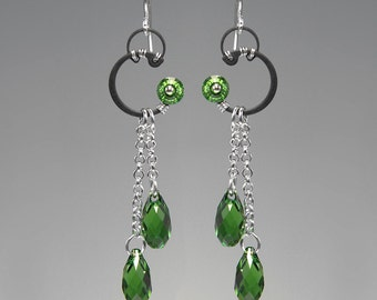 Hyperion II v10: industrial wire wrapped earrings with fern green Swarovski crystals