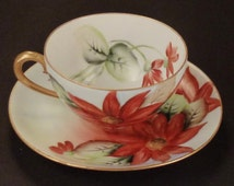 Antique TEA CUP SAUCER Plate Germany Poinsettia Handpainted red holiday 1920 Porcelain Hohenjollern