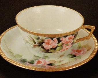 Antique TEA CUP SAUCER Plate Germany Roses Handpainted Signed gilding serrated texture1920'S Porcelain Hohenjollern