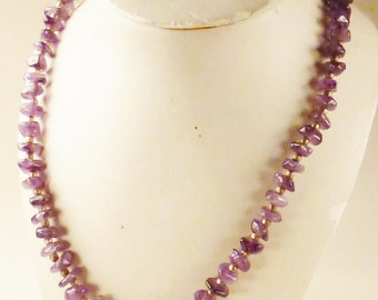 Vintage AMETHYST Chip beads Necklace chunky with gilt spacers Strand  24  in  long  3/8 in wide Xmas Gift