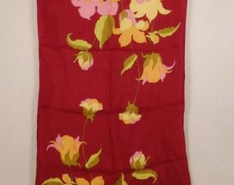 "Vntg Designer SCARF Flowers 1970s Silk Scarf Handpainted Maroon red lillies  43""L 15.5"" W"