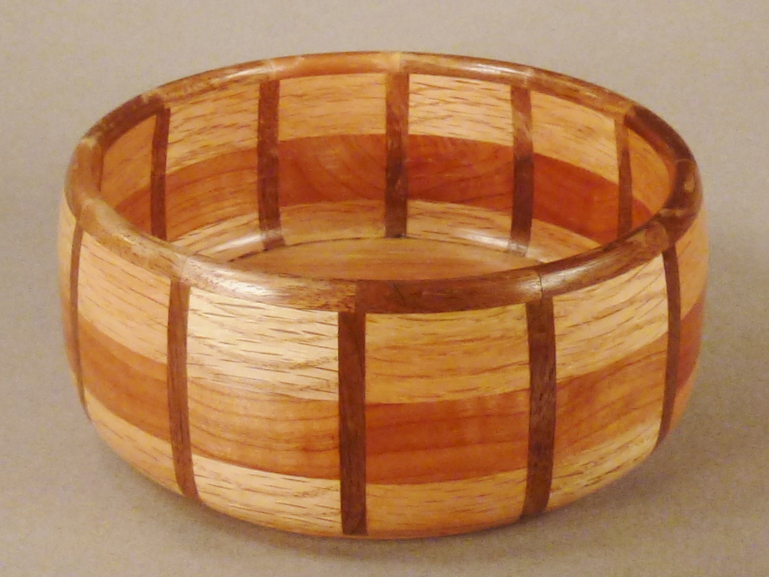 Inlaid Wooden Bowl One Of A Kind Oak Maple Teak Handcrafted