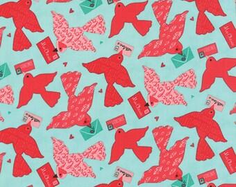Clearance FABRIC KISS KISS Love Birds Love Notes on Aqua Valentine's Day by Moda 1/2 yard