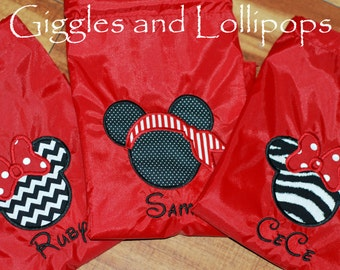 Girls boys custom personalized  backpack cinch sak  disney minnie mouse mickey mouse pirate