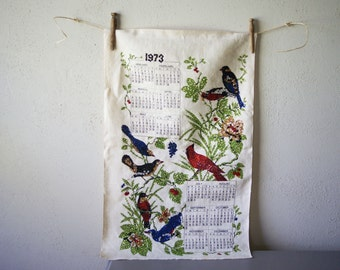 Calendar Towel 1973 | Linen Fabric | Wall Hanging | Sequin Accents | Birds on Branches | Kitchen Wall Decor | Kitsch Towel | Red Cardinals