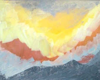Abstract landscape sunset mountain painting, mountain and sun painting, home decor, framed art