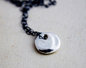 Silver Coin Necklace, Modern Jewelry, Charm Necklace, Metallic Charm, Textured Pendant, Sterling Silver, Perfect Gift, Simple Jewelry