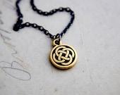 Celtic Knot Necklace, Celtic Pendant, Celtic Charm, Pendant Necklace, Sterling Silver, Antiqued, Circle Pendant, Circle Charm, Gold Charm