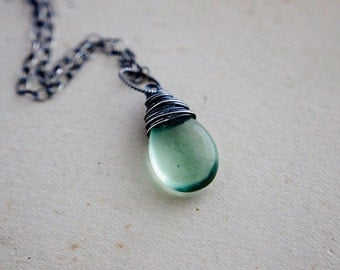 Mint Necklace, Mint Green, Fluorite Necklace, Sterling Silver, Pastel Green, Pendant necklace, Perfect Gift, PoleStar, Gemstone Necklace