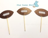 12 Football Glitter Shimmer Cupcake Toppers Birthday Cupcake Toppers Food Picks Decor Decorations Sports Boy Party Picks Favors Donuts