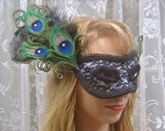 Vintage Black Lace Peacock and Ostrich Feather Mask - IN STOCK