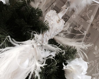 DUAL USE Luxurious White Peacock Wedding Decoration Cake Topper AND Christmas Tree Topper