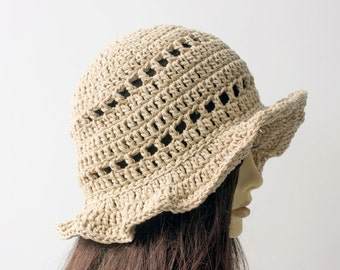 Cotton Sun Hat, Spring Hat, Summer Hat, Beige Brimmed  Bucket Vegan Hat, Boho Style, Natural Fiber