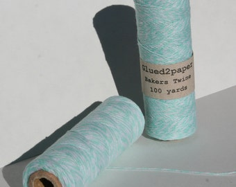 Light Teal and White Bakers Twine - Teal Bakers Twine - Scrapbooking Twine - Craft Supplies - 100 yards of 4 Ply Twine