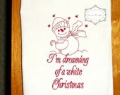 Vintage Style Snowman Kitchen Tea Towel Christmas Holidays Snowmen Embroidery