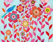Original Art Collage Bird and Flower Painting, Bird and Flower Collage Painting, Floral Art
