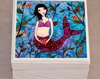 Little Mermaid Jewelry Box, Trinket Box, Jewelry Organizer, Mermaid Wooden Box