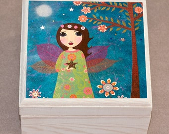 Star Fairy Jewelry Box Wooden Fairytale Jewellery Box Trinket Box