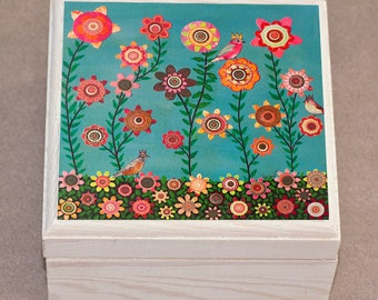 Spring Flower Jewelry Box, Trinket Box, Gift Box